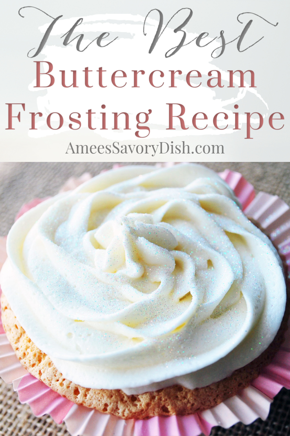 This easy frosting recipe is made with butter, milk, powdered sugar, meringue powder, and vanilla and almond extract.  So good on all your favorite cake and cupcake recipes! Also, learn how to make adorable and easy Fairy and Pirate themed cupcakes! via @Ameessavorydish