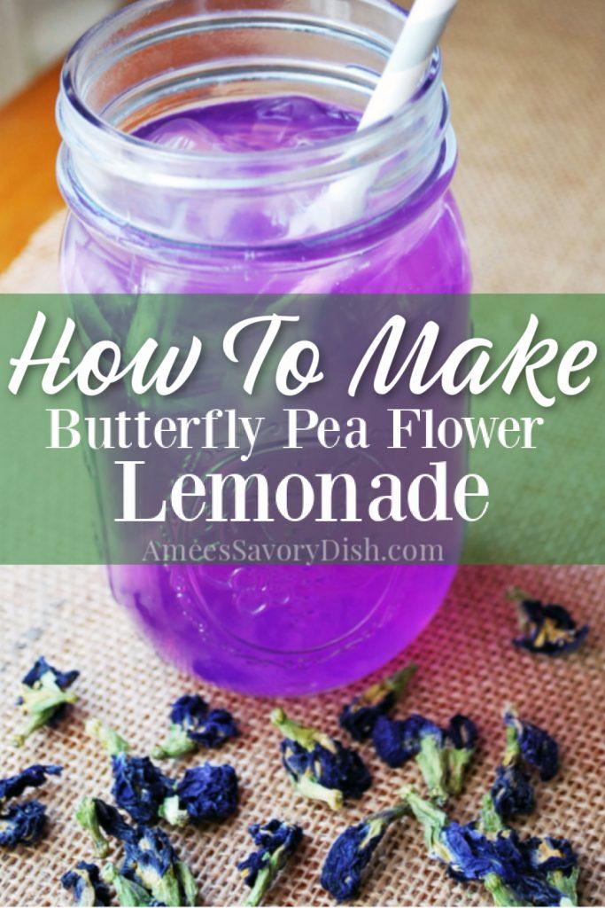 glass of butterfly pea flower lemonade in a glass