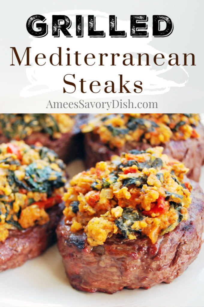 Plate of grilled steaks with Mediterranean blend topping with font overlay