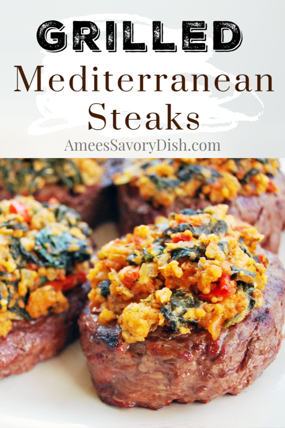 Mediterranean grilled sirloin steaks are a delicious and flavor-packed lean beef dinner. They're tender beef steaks with a mixture of spinach, feta cheese, sun-dried tomato pesto, and seasonings on top. #grilledsirloin #grilledsteak #steakrecipe #mediterraneansteak via @Ameessavorydish