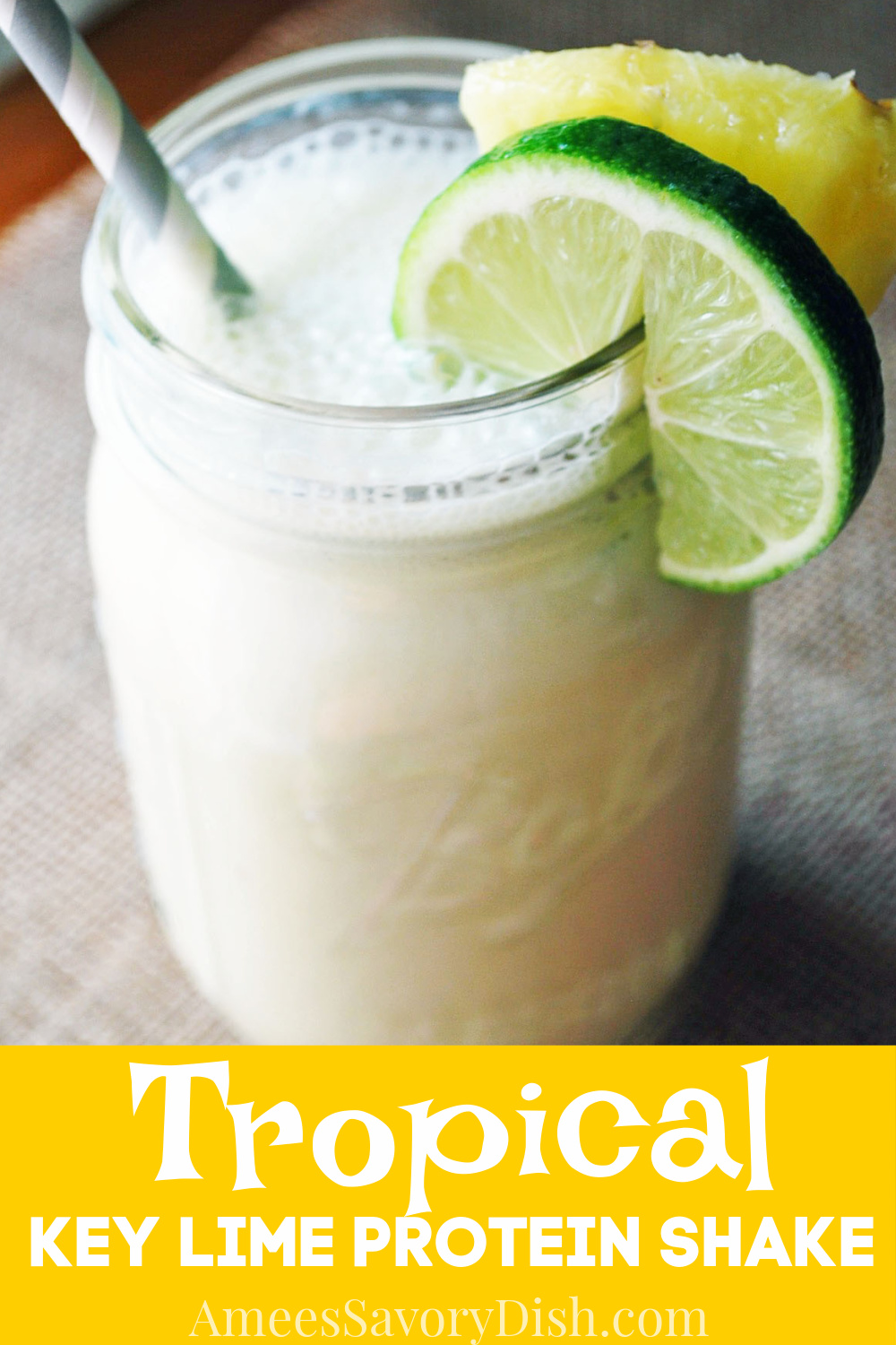 A delicious tropical key lime protein shake recipe made with unsweetened almond milk, key lime Greek yogurt, whey protein, and tropical fruits.#proteinshake #tropicalproteinshake #proteinshakerecipe via @Ameessavorydish