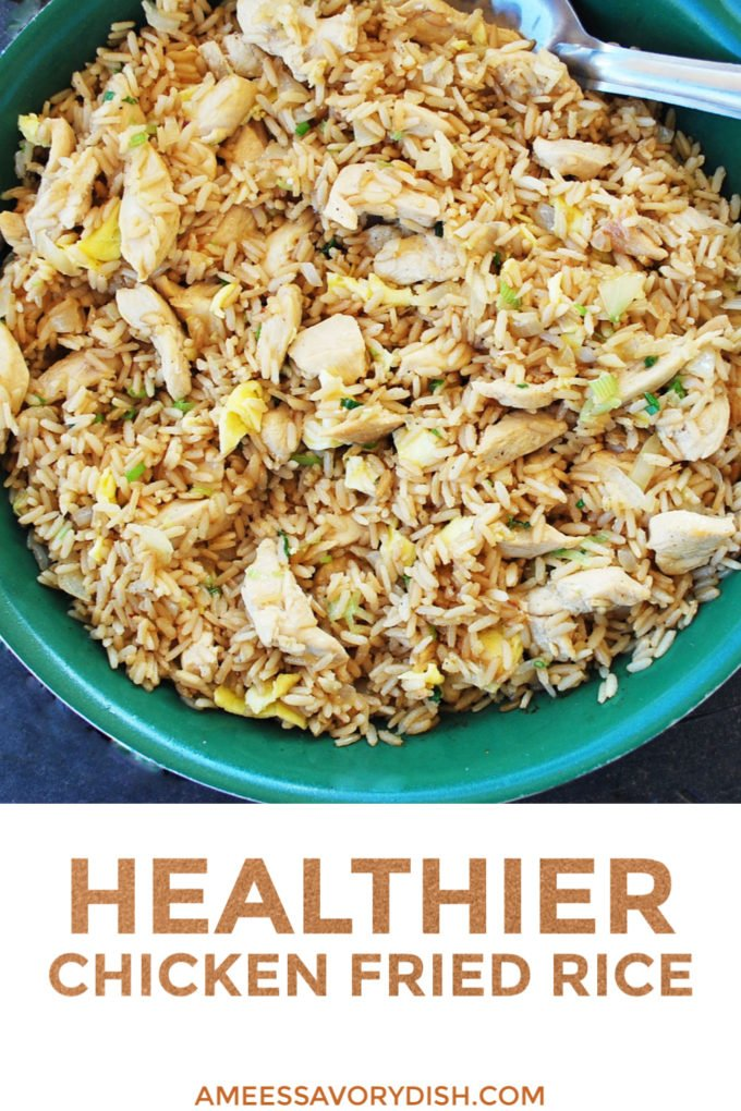 Healthier Chicken Fried Rice is better for you than take-out!  This fried rice recipe is made without refined carbs and unhealthy fats.  This healthier (and just as tasty) version of chicken fried rice uses whole grain brown rice, olive oil, pastured butter, and lean boneless chicken breast.