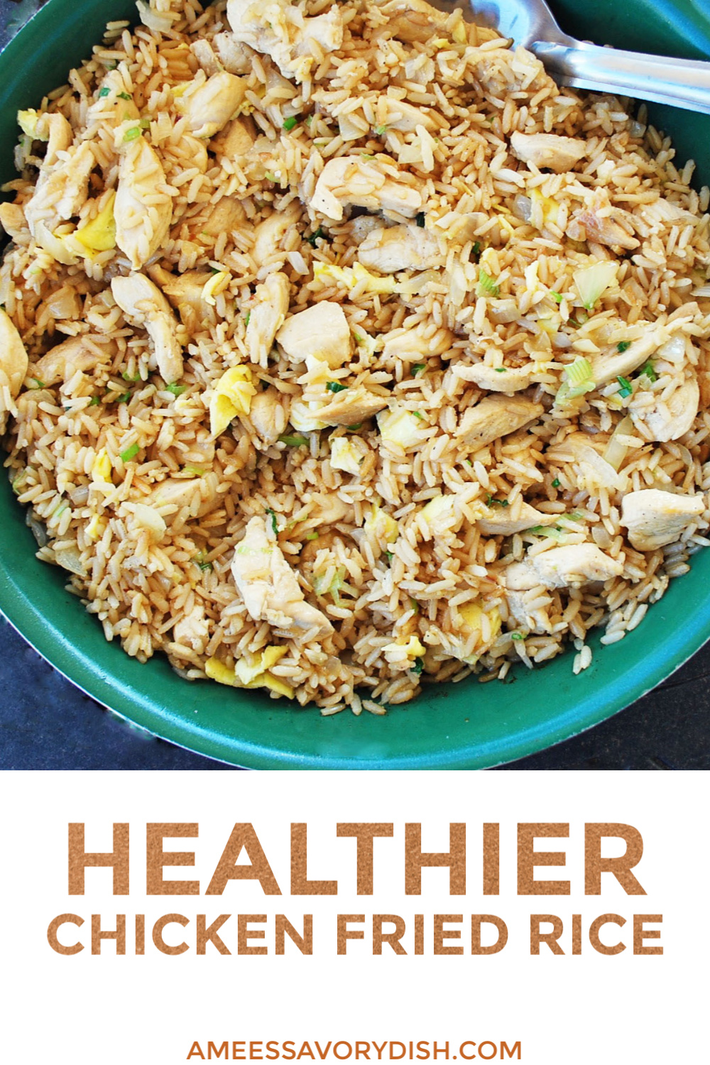 Healthier Chicken Fried Rice is better for you than take-out! This fried rice recipe is made without refined carbs and unhealthy fats. via @Ameecooks