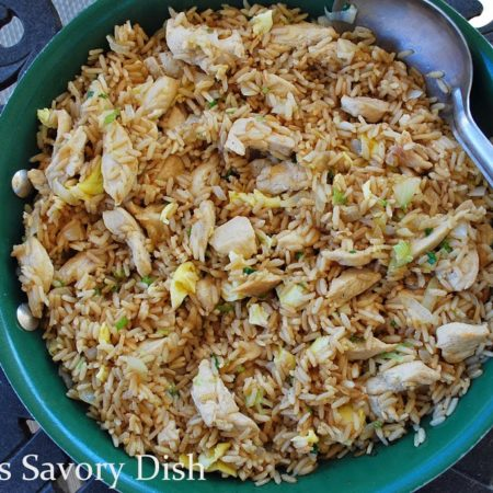 Chicken fried brown rice is a healthier way to enjoy fried rice, but without the refined carbs and unhealthy fats! This healthier version of chicken fried rice is made with wholesome brown rice, olive oil, pastured butter and lean chicken.