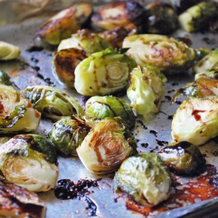 Brussels sprouts roasted on a sheet pan