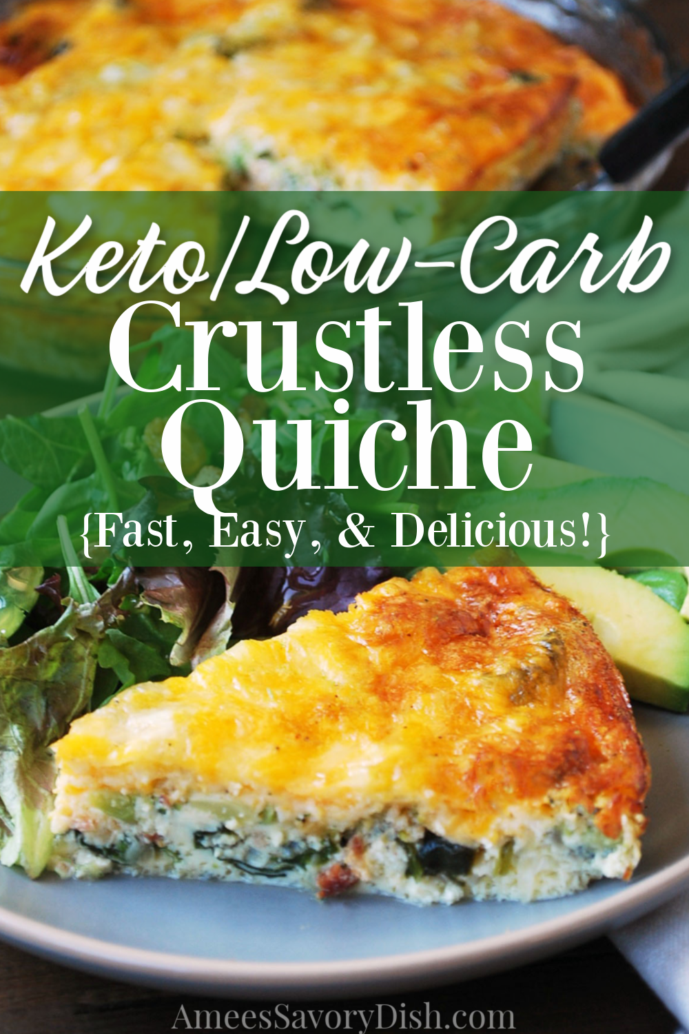 A simple and delicious low-carb crustless quiche recipe made with bacon, broccoli, fresh baby spinach, onions, and cheese.#ketorecipe #ketoquiche #lowcarbquiche #ketobreakfast #ketorecipe #loadedquiche #spinachquiche #crustlessquiche via @Ameessavorydish