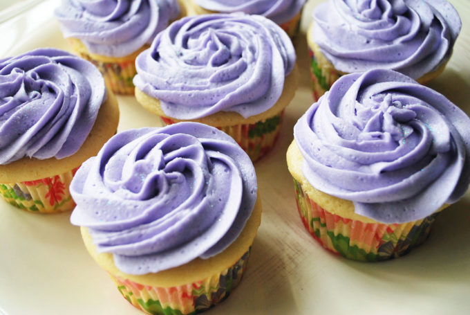 Lavender earl grey teais the shining star of this easy homemade cupcakes recipe, made famous at Georgetown Cupcakes! Get the cupcakes recipe here.