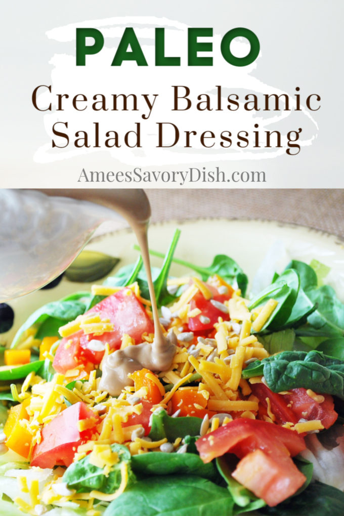 This simple and delicious creamy balsamic Paleo salad dressing is made with Paleo-friendly olive oil mayonnaise, a blend of balsamic and red vinegar and spices.
