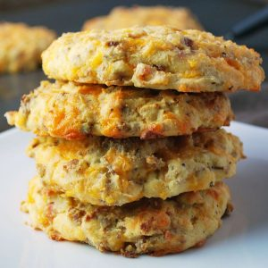 stack of savory breakfast cookies on a plate