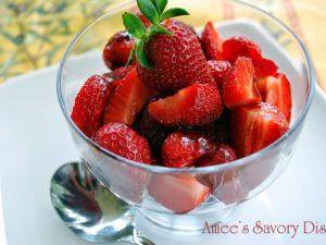 pomegranate balsamic strawberries
