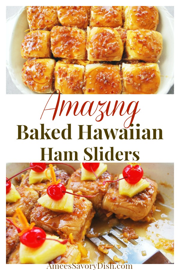 Hawaiian ham sliders are delicious mini sandwiches, filled with teriyaki glazed ham, pineapple, bacon, and cheese.