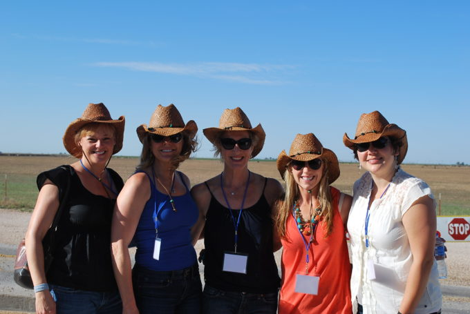 food bloggers pose for a picture on a beef cattle ranch