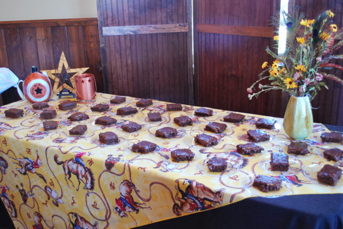 buffet table of Texas sheet cake