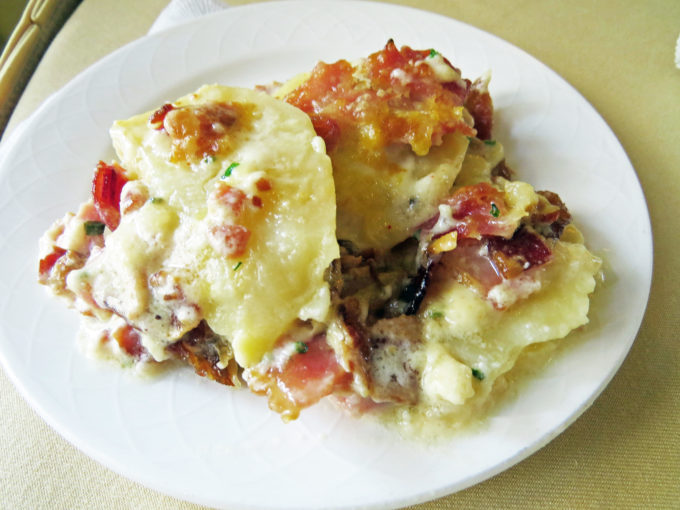 plate of loaded potato breakfast casserole