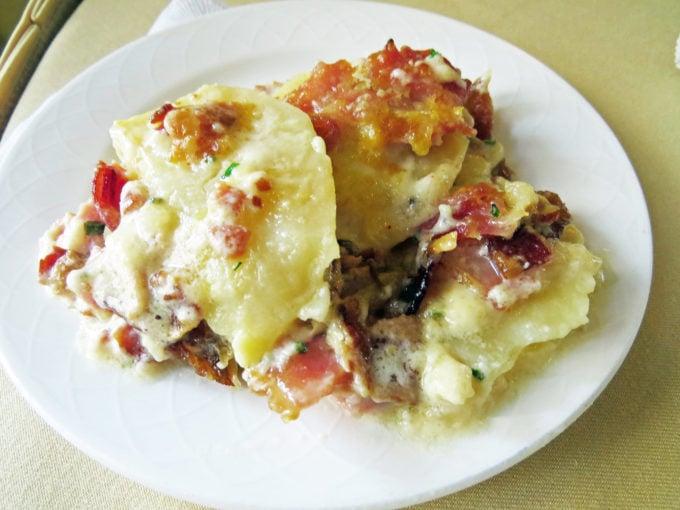 plate of loaded potato breakfast casserole