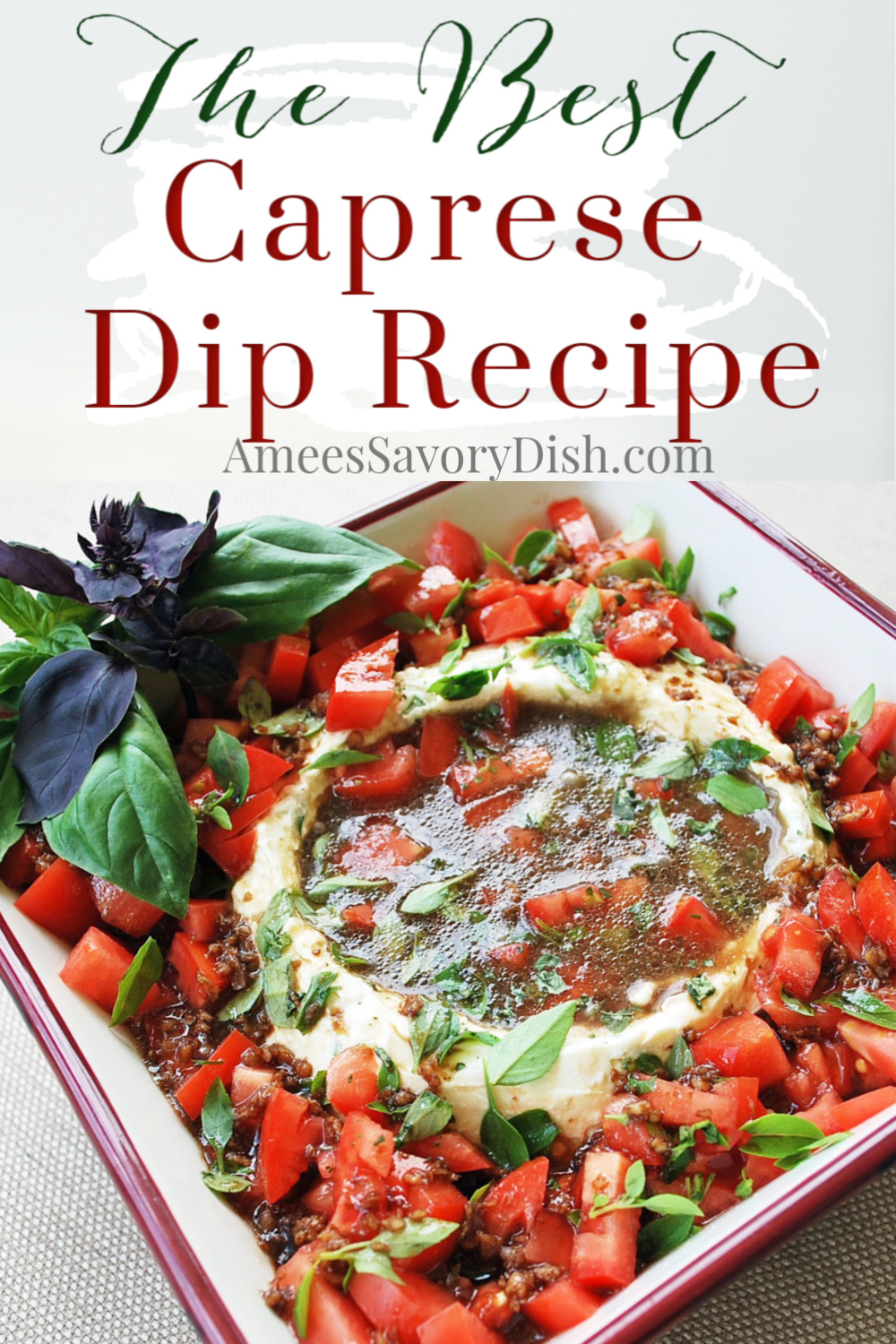 Healthy Caprese dip is so good, you may not save any room for dinner!  Fresh tomatoes and basil, plus two kinds of cheese, drizzled with balsamic vinaigrette. You'll love this healthy dip recipe! #capresedip #caprese #easyappetizers #summerappetizer #capreseappetizer #appetizerrecipe via @Ameecooks