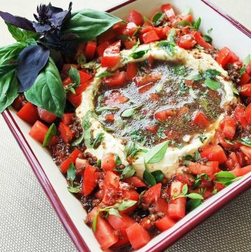cream cheese dip in a square bowl with a well in the center for the balsamic dressing and chopped tomatoes and basil around the sides