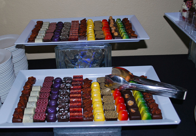 Trays of artisan chocolates at the Food and Wine Conference