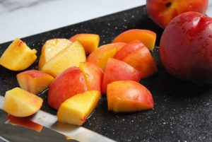 cut peaches for kabobs