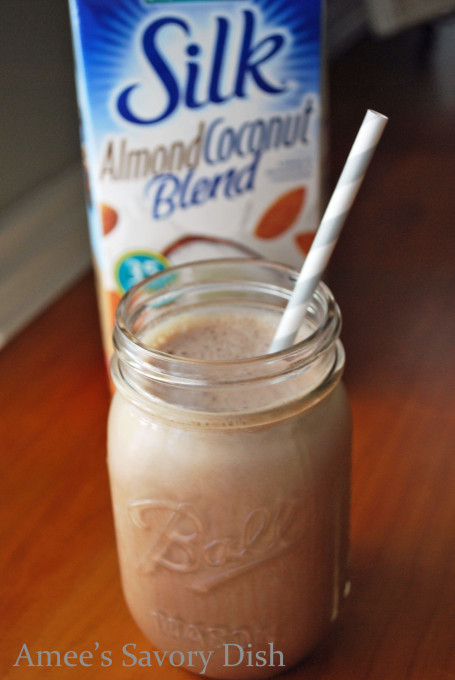 Almond Joy protein smoothie, made with Silk almond coconut milk.