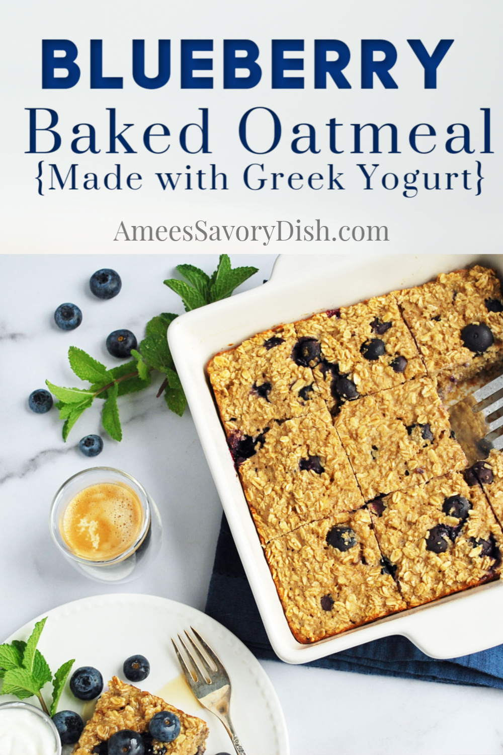The best easy baked oatmeal recipe using fresh blueberries, oats, protein-packed Greek yogurt, and oat milk. So simple and delicious!! #bakedoatmeal #blueberryrecipe #bakedoats #breakfastrecipe via @Ameecooks
