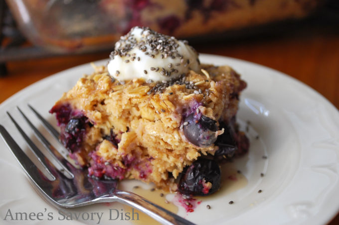 Blueberries and Creme Baked Oatmeal from The Greek Yogurt Diet