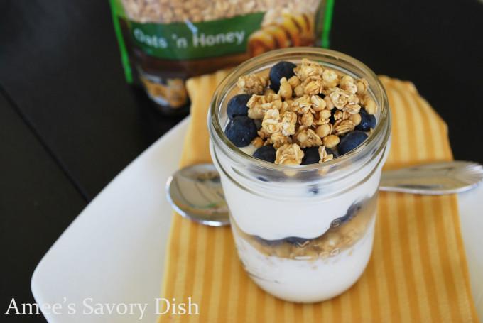 protein granola parfait with blueberries