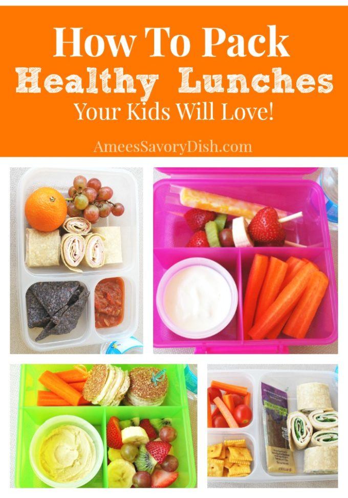 Collage photo of healthy lunch box ideas