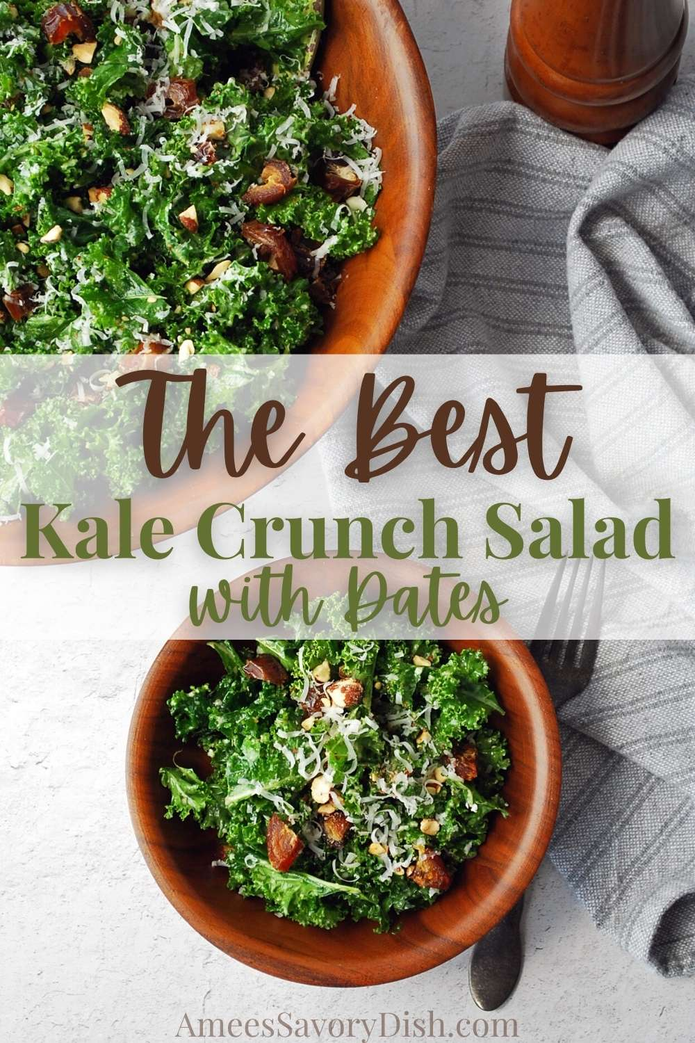 A deliciously simple kale salad made with dates, Parmesan cheese, and almonds topped with a homemade lemon vinaigrette dressing. #kalesalad #kale #saladrecipe #thebestsalads via @Ameessavorydish