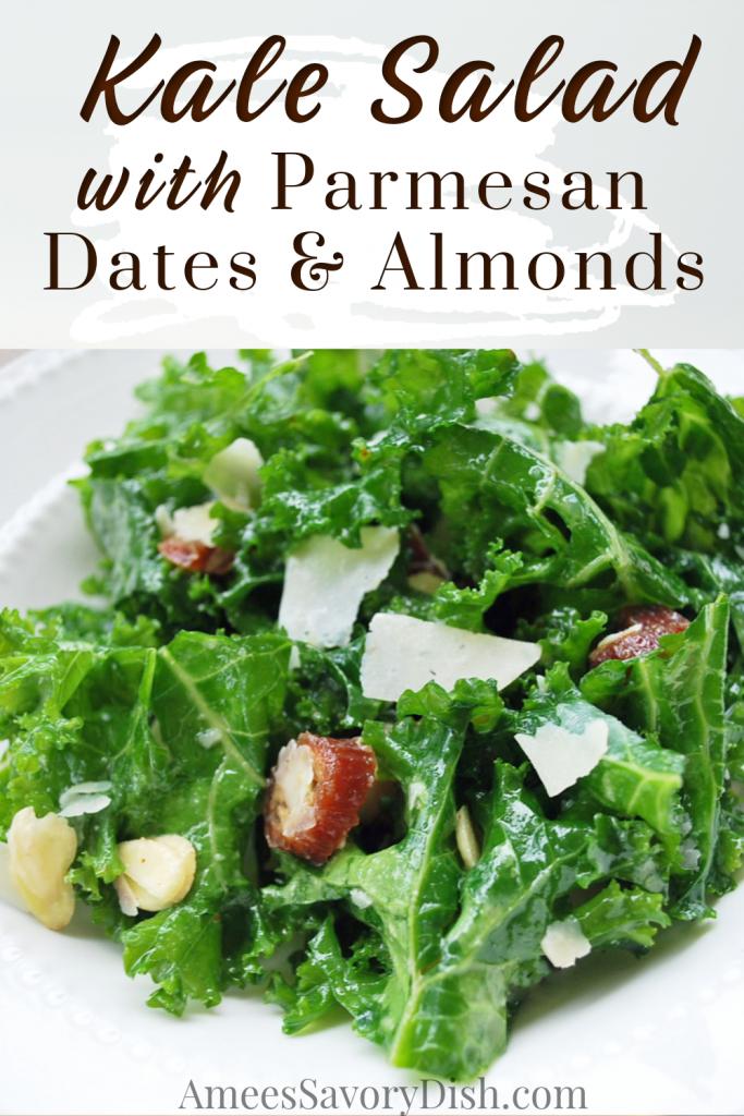 bowl of kale salad with description for Pinterest
