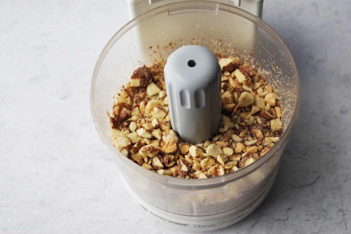 chopped almonds in a mini food processor