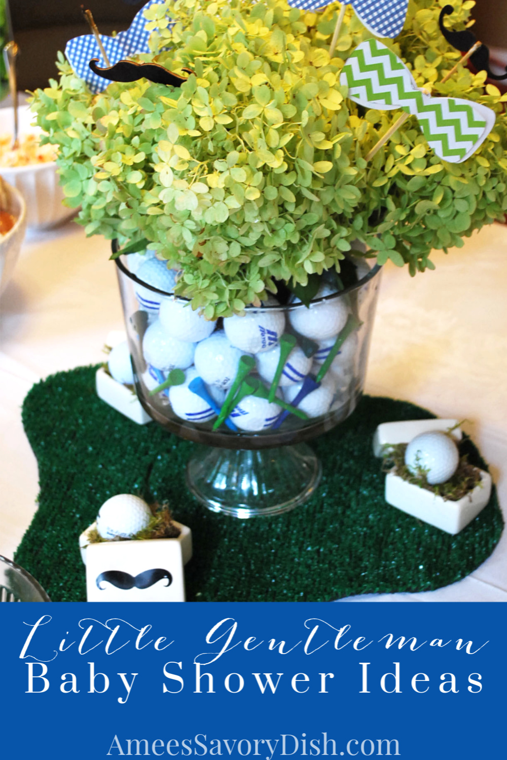 Fun decorating and recipe ideas to inspire a little man themed baby shower #babyshower #littlemanbabyshower #babyshowerideas via @Ameessavorydish