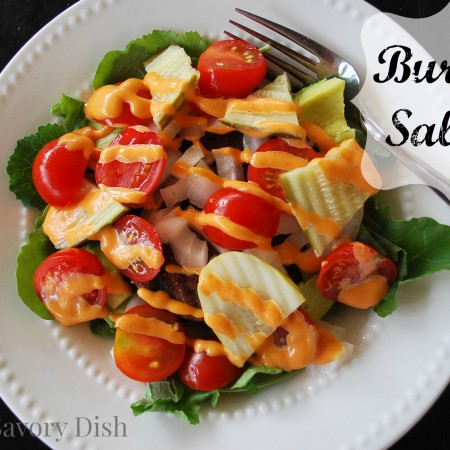 This burger salad has all of the flavors of a traditional hamburger, without the bun.