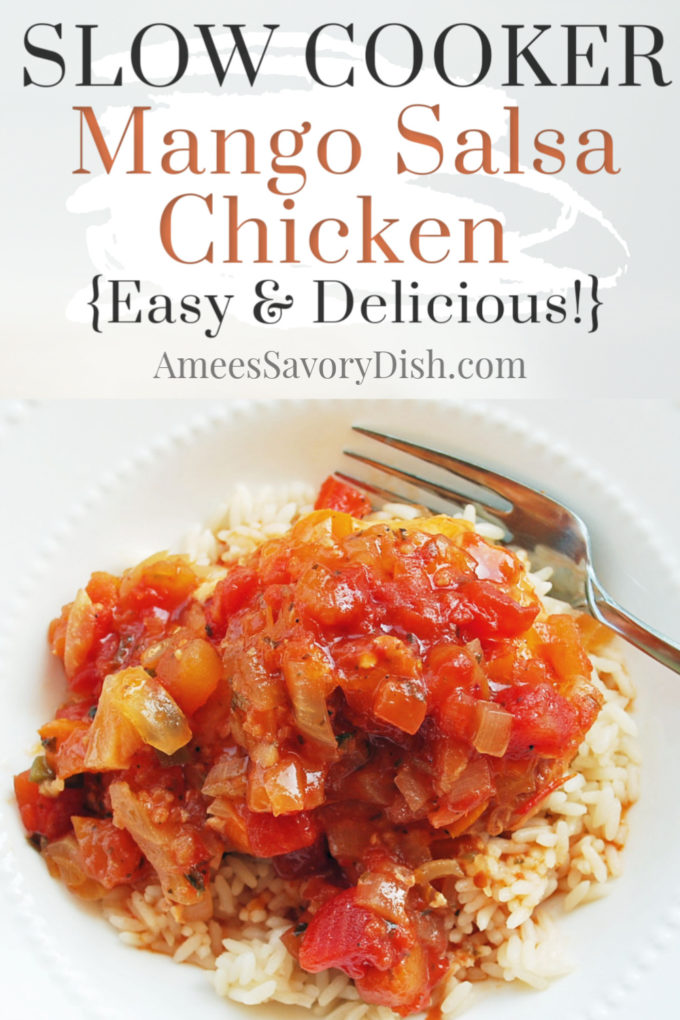 Slow cooker mango salsa chicken is an easy and delicious slow cooker dinner recipe. Sweet fruit salsa, tender boneless chicken breast, onions, garlic, tomato sauce, and a kick of cayenne for a sweet and spicy meal!