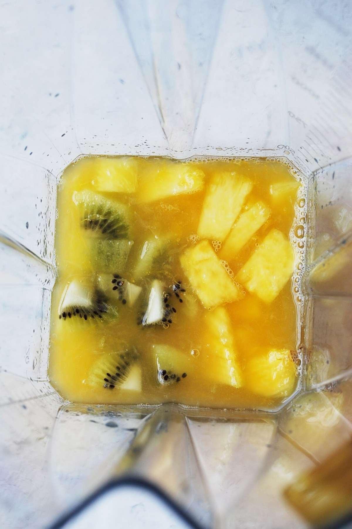 tropical fruit in a blender jar