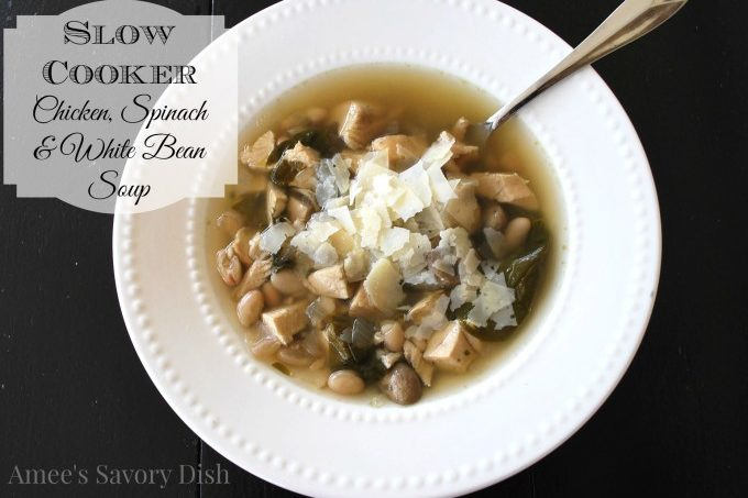 Chicken, Spinach, and White Beans Slow Cooker Soup