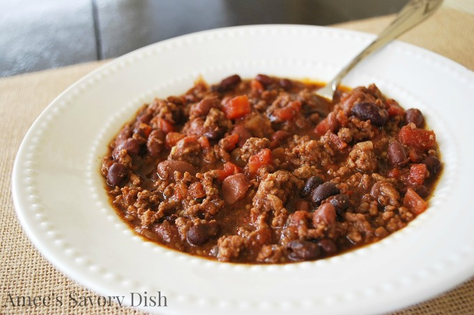 Easy Slow Cooker Chili #SundaySupper