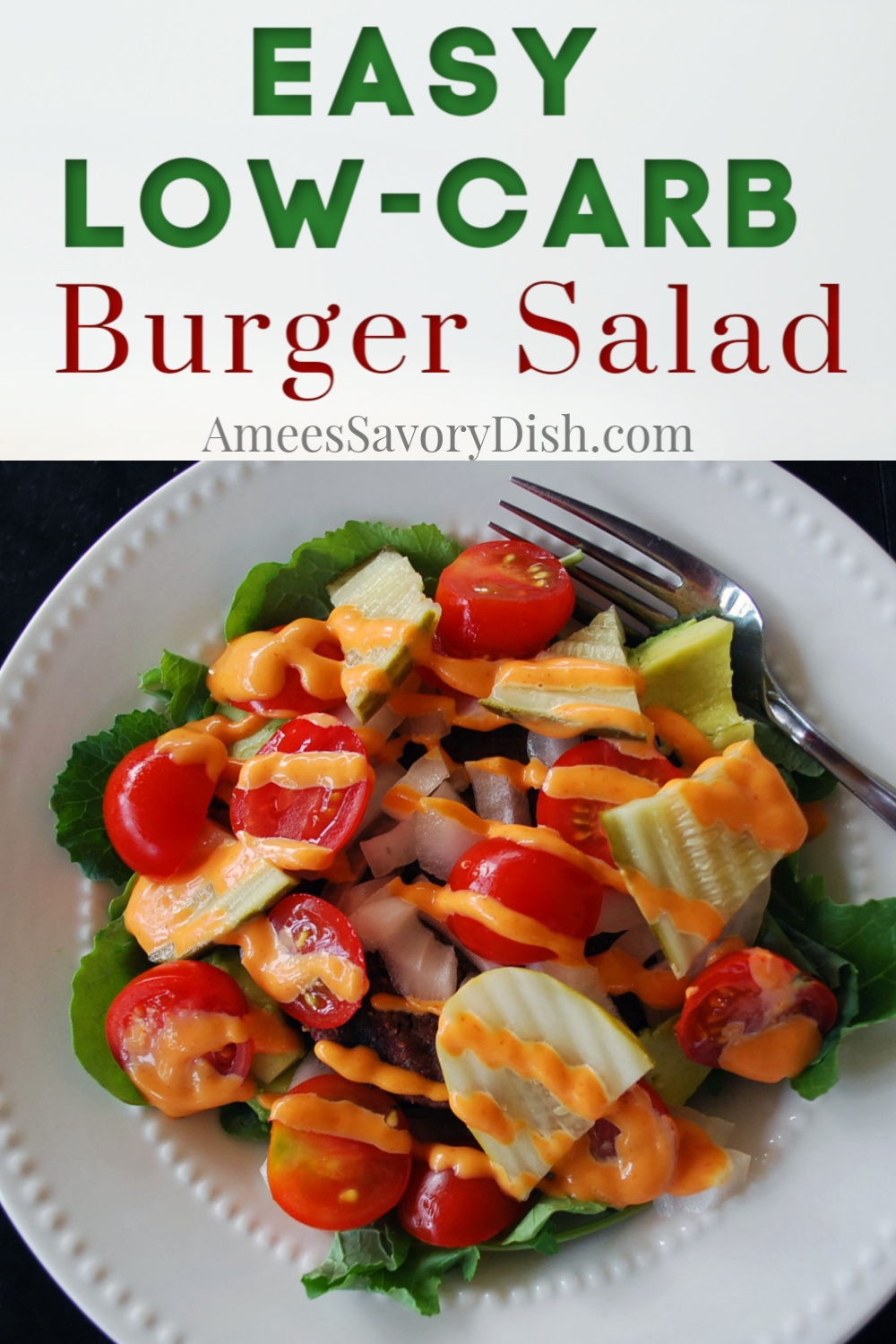 Burger salad is a low carb hamburger, served in a bowl!  I love deconstructed hamburgers.  You get all the delicious burger flavors, without the bun. With mixed greens and kale for super green micronutrients and Sriracha mayo for incredible flavor, this tasty dinner salad recipe makes a nutritious and simple meal! #burgersalad #salad #lowcarbsalad #saladrecipe #beef #lowcarbburgers via @Ameessavorydish