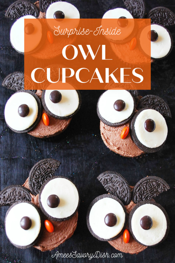 A fun surprise-inside recipe for owl cupcakes stuffed with peanut butter cups and topped with chocolate peanut butter frosting #halloweencupcakes #halloweendesserts #bakingforkids via @Ameessavorydish