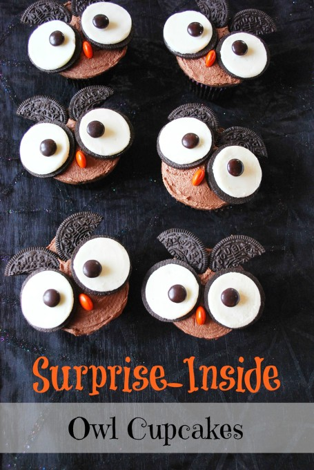 These surprise inside owl cupcakes are stuffed with a Chocolate Peanut Butter Cup and slathered in Chocolate Peanut Butter Frosting.