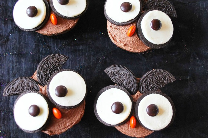 Surprise-Inside Chocolate Peanut Butter Owl Cupcakes