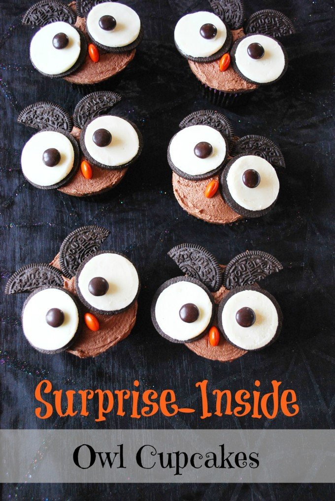 A fun surprise-inside recipe for owl cupcakes stuffed with peanut butter cups and topped with chocolate peanut butter frosting