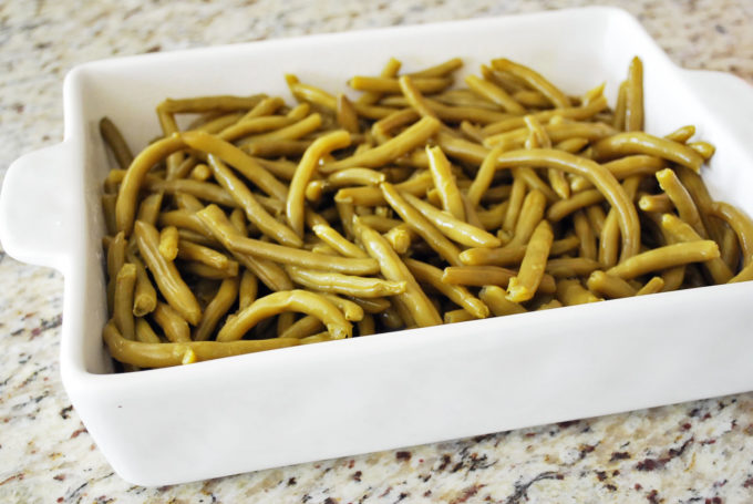 green beans in a casserole dish