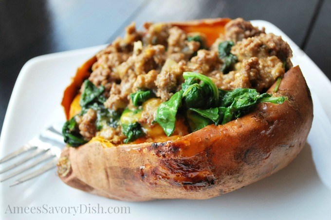 Beef Sausage, Kale & Aged Cheddar Stuffed Sweet Potatoes
