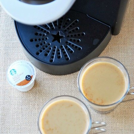 Homemade pumpkin spice latte in coffee mugs