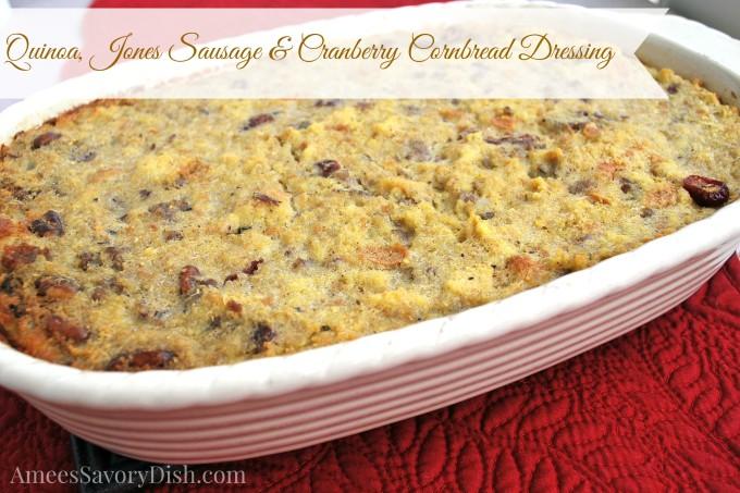 Quinoa Sausage Cranberry Cornbread Dressing