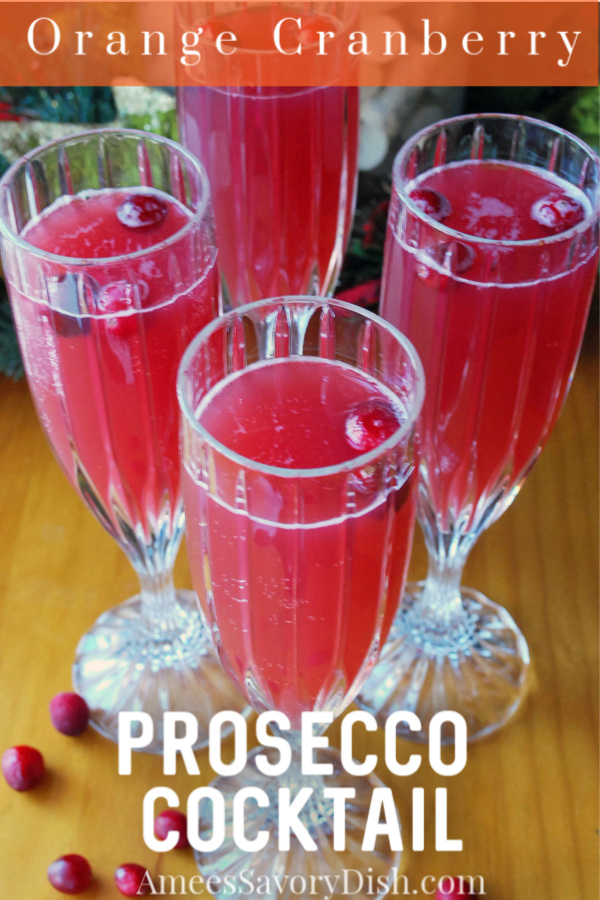 This orange cranberry Prosecco cocktail is a fun and festive libation, perfect for the holiday season, made with Prosecco wine and accents of cranberry and orange. #proseccococktail #prosecco #holidaycocktails via @Ameessavorydish