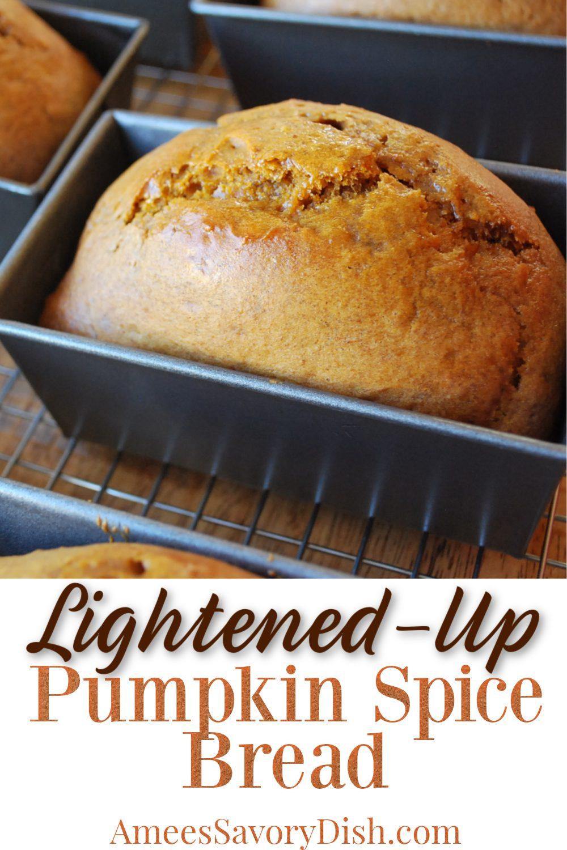 Lightened-up pumpkin spice bread is a healthier version of a family favorite pumpkin bread recipe made with Greek yogurt, coconut sugar, & unbleached flour. #pumpkinspice #pumpkinbread #healthierpumpkinbread #lightpumpkinbread #pumpkinrecipe via @Ameessavorydish