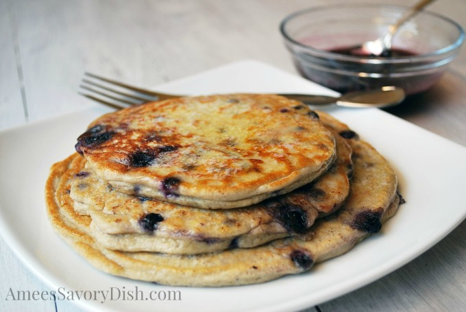 Wild blueberry protein pancakes make for a delicious, healthy breakfast. Protein-packed, buttermilk oat pancakes, bursting with wild blueberries. An easy breakfast recipe, too! | Amee's Savory Dish