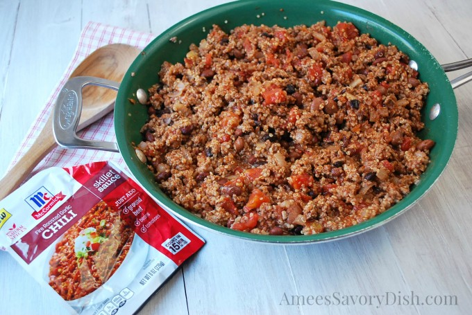 Fire Roasted Garlic Beef & Quinoa Chili is a fast and healthy one-dish skillet meal.